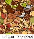 Nuts and seeds seamless pattern vector illustration. Different nut and seed colored background. 61717709
