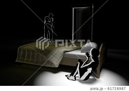 強盗に怯える女性。拳銃を持った犯罪者。警察に電話する。3Dイラスト 61728987