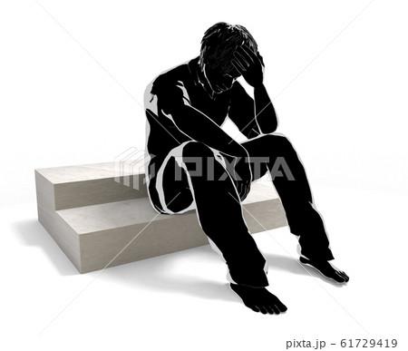 問題を起こした男性。1人で悩む人物。心配事がある。3Dイラスト 61729419