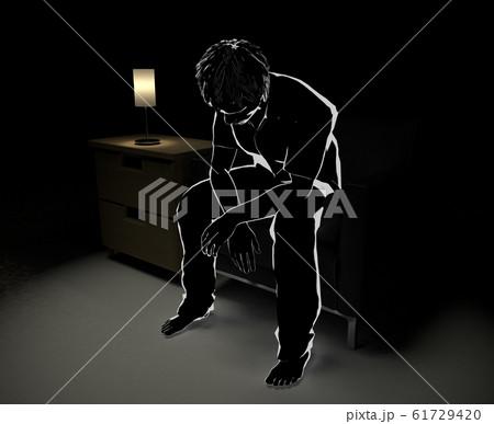 ソファに座り考え事をする。夜中に1人で悩む。心配事がある人物。3Dイラスト 61729420