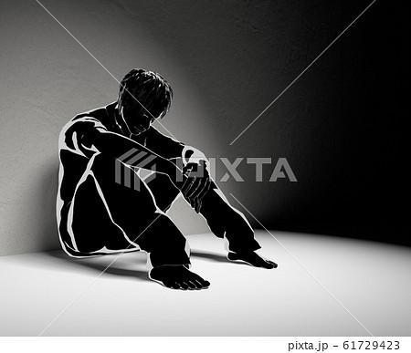 孤独な男性。誰も助けてくれない。1人で悩む。3Dイラスト 61729423
