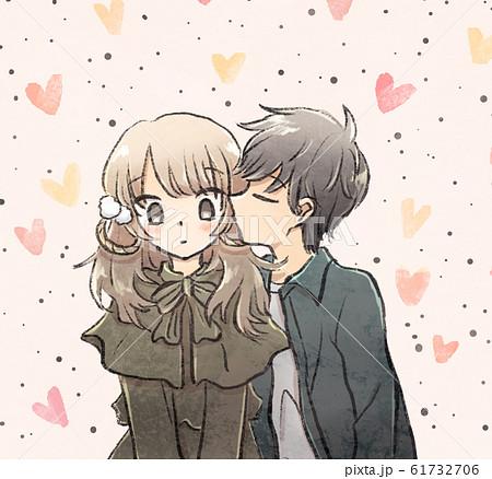 女の子のほっぺにキスする男の子のイラスト素材