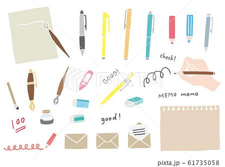 文房具(筆記具)の手描き風イラストのセット 61735058