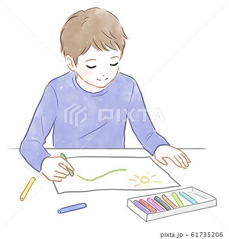 絵を描く男の子 61735206