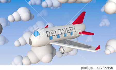 Toy plane with DELIVERY text flies between cloud mockups, conceptual 3D rendering 61735956