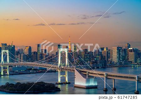 はちたまから見るレインボーブリッジのマジックアワー 【東京都】 61747285