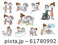人物セット:介護、シニア、ヘルパー 61780992
