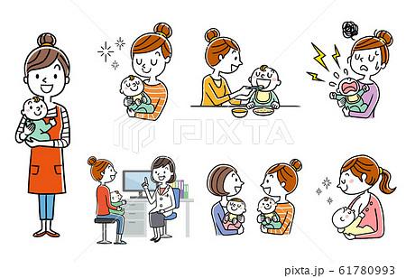 人物セット:子育て、育児、親子 61780993