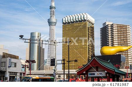 都市風景 吾妻橋交差点から望む東京スカイツリー 61781987