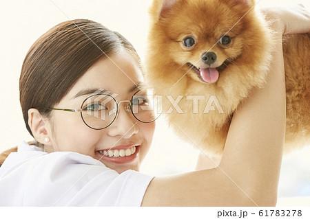 小型犬の診察を行う若い女性 61783278