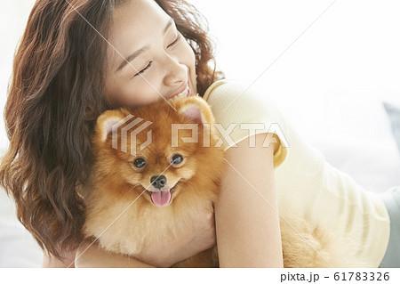 小型犬と暮らす若い女性 61783326