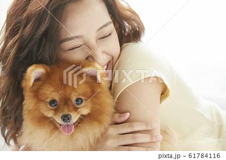 小型犬と暮らす若い女性 61784116