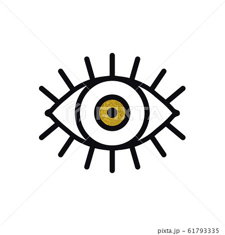 Open gold eye line icon on white background. Look, see, sight, view sign and symbol. Vector linear graphic element. Optical and search theme in minimal design style. Golden eye with eyelashes. 61793335
