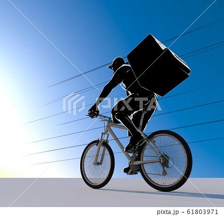 フードを配達する人物。自転車で配達する男性。3Dイラスト 61803971