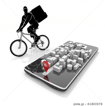 地図アプリを見て配達する。食べ物を自転車で配達する。3Dイラスト 61803978