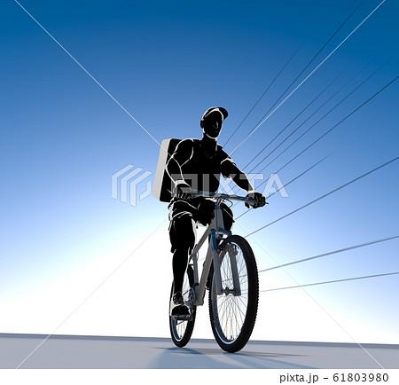 フードを配達する人物。自転車で配達する男性。3Dイラスト 61803980