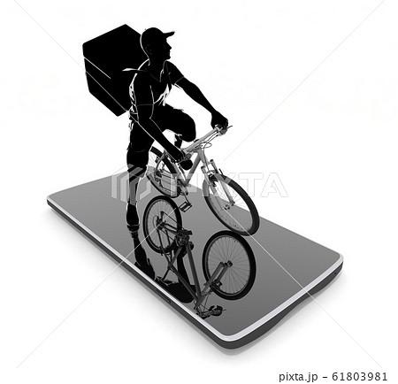 スマートフォンを使用して仕事する。食べ物を配達する男性。3Dイラスト 61803981