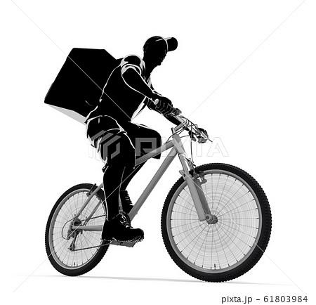食べ物を配達する男性。自転車で配達する人物。3Dイラスト 61803984