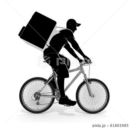 食べ物を配達する男性。自転車で配達する人物。3Dイラスト 61803985