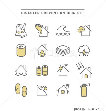 DISASTER PREVENTION ICON SET 61812485