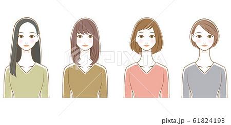 女性 ヘアスタイル イラストセット 03 61824193