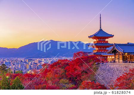 京都  秋の清水寺  三重塔    61828074