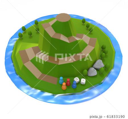 湖に囲まれた山。立体的なボードゲーム。自然のイメージ。3Dイラスト 61833190