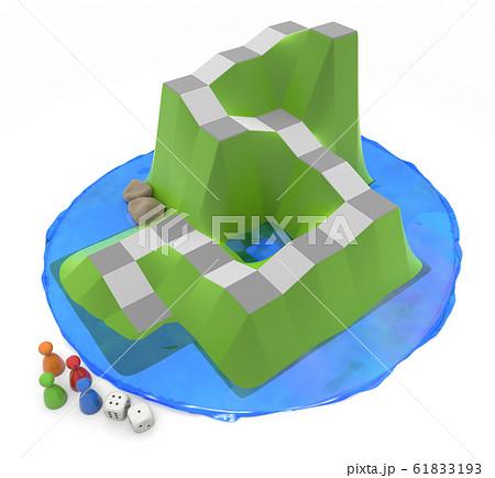 周りが水で囲まれたボードゲーム。4個の駒と2個のサイコロ。3Dイラスト 61833193