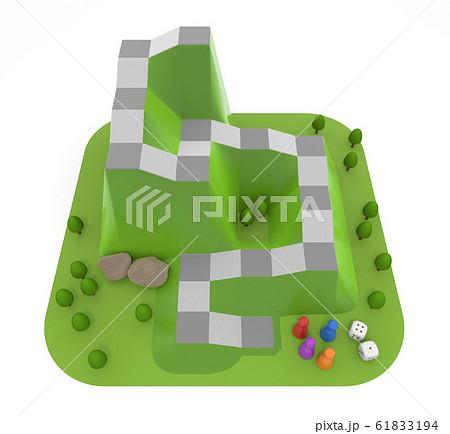 山をイメージしたボードゲーム。立体的なサイコロゲーム。3Dイラスト 61833194