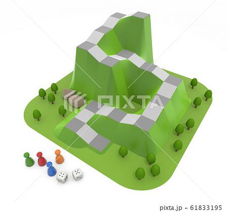 ボードゲームで遊ぶ。4人でゲームをする。3Dイラスト 61833195