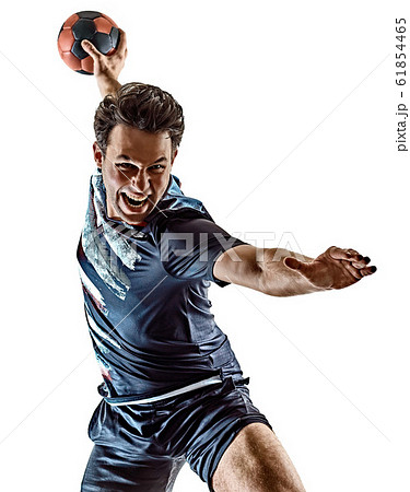 young court handball player man silhouette shadow isolated white background 61854465