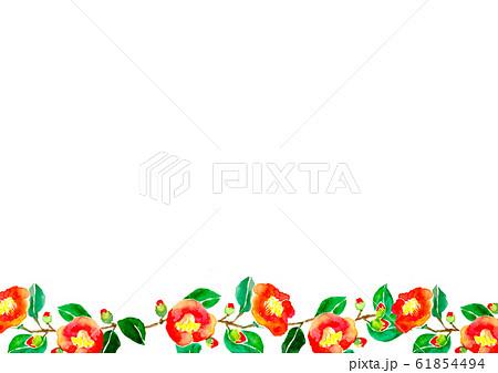 椿 花 イラスト 水彩 和 手描き 61854494