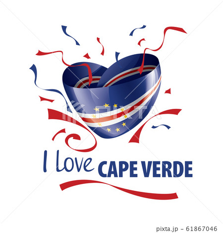 National flag of the Cape Verde in the shape of a heart and the inscription I love Cape Verde. Vector illustration 61867046