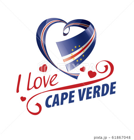National flag of the Cape Verde in the shape of a heart and the inscription I love Cape Verde. Vector illustration 61867048
