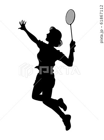 オリンピック競技 バドミントン 女子 01のイラスト素材