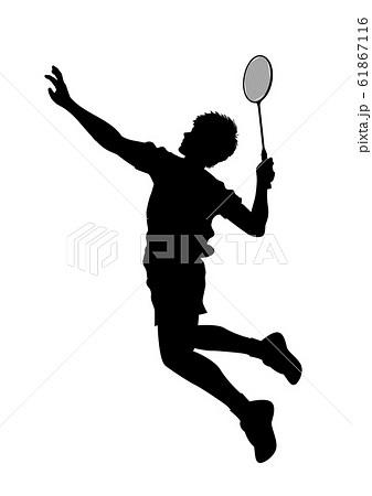 オリンピック競技 バドミントン 男子 01のイラスト素材