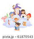 Little Girl Holding Opened Book Reading Fairy Tale with Fairy-tale Characters Sitting Behind Her Vector Illustration 61870543
