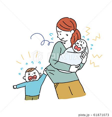 ワンオペの女性 子育て 育児 ノイローゼ イラスト 産後うつ 61871073