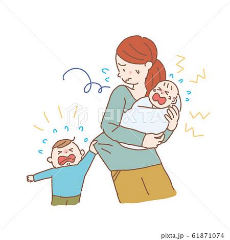 ワンオペの女性 子育て 育児 ノイローゼ イラスト 産後うつ 61871074