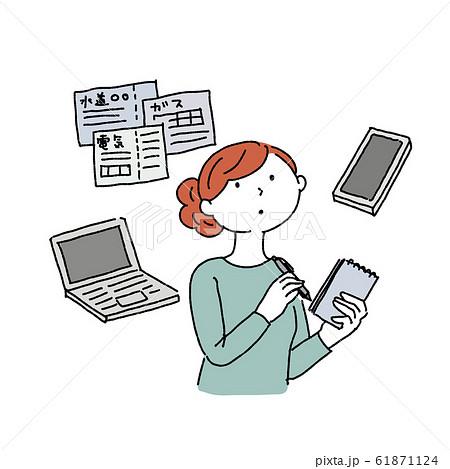 相続 手続き 契約を確認する 女性 イラスト 61871124