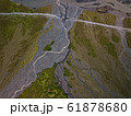 Aerial view of glacier river in Iceland 61878680