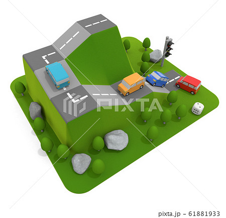 自動車が山を登っていく。車のボードゲーム。3Dイラスト 61881933