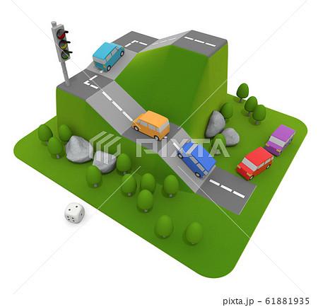 自動車競争のゲーム。車がメインのボードゲーム。3Dイラスト 61881935