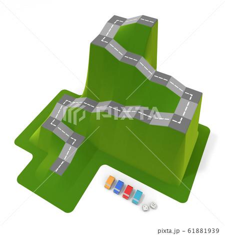 自動車のボードゲーム。車の駒とサイコロ。3Dイラスト 61881939
