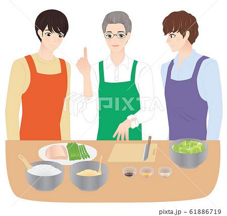 料理教室に通う男性 61886719