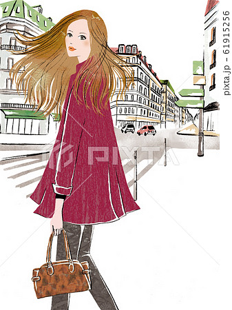 横断歩道待ちの女性 61915256
