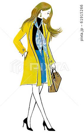 トレンチコートを着た横顔の女性 61915266