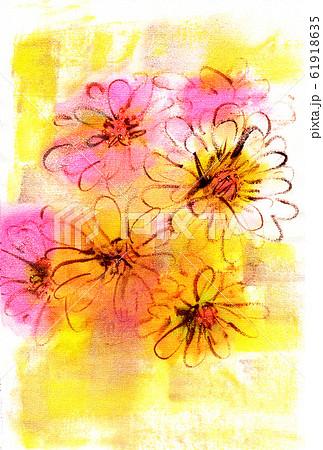 ピンクと黄色と白のジニア 背景は秋色 61918635
