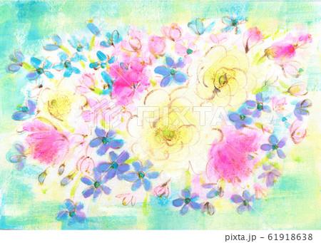 白のラナンキュラスとブルースターの花束 61918638