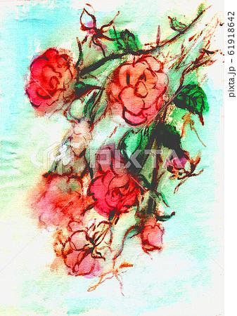 濃いピンク色のバラの花束とエメラルドブルーの背景 61918642
